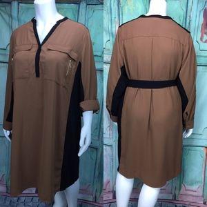 Lane Bryant Women's Dress 28 Brown Black Pockets